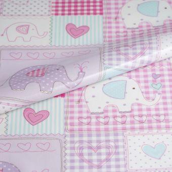 Tissu enduit épais éléphants rose