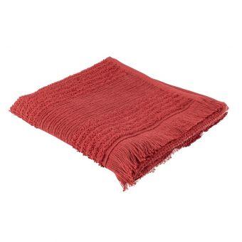 Serviette invitée rouge à franges