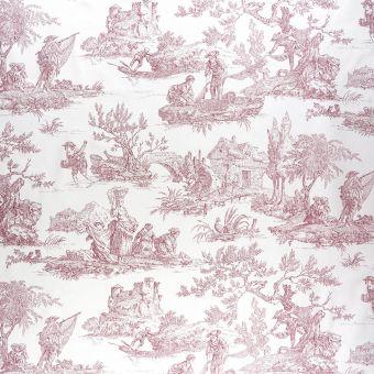Tissu coton toile de Jouy romantique rouge