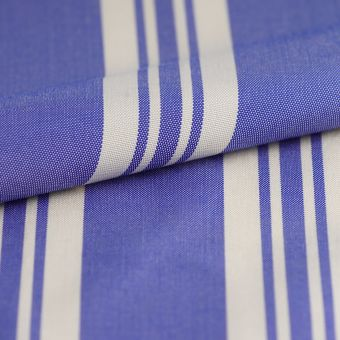 Tissu toile transat Littoral rayé bleu blanc