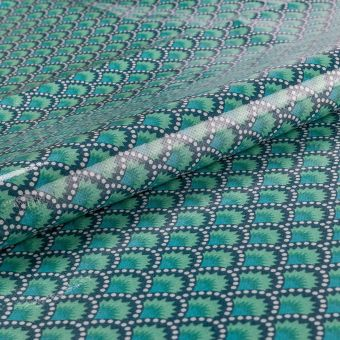 Tissu Petit Pan coton enduit brillant bleu émeraude motifs graphiques wasabi