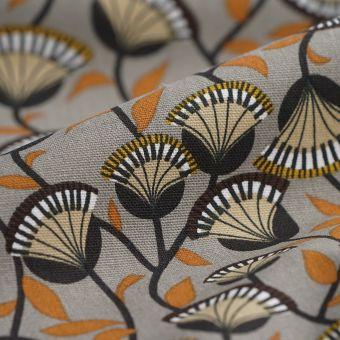 Tissu coton épais fleurs taupe