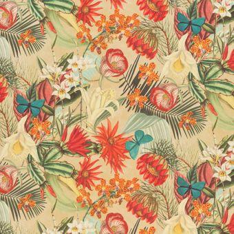 Tissu velours imprimé papillons et fleurs tropicales