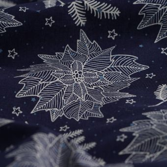 Tissu coton bleu étoile de noël