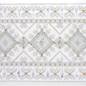 Galon oriental très large blanc 22 cm