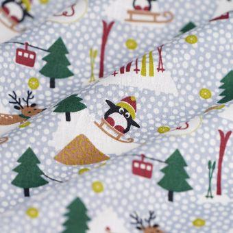 Tissu de Noël coton bio Pingouin à la montagne bleu gris