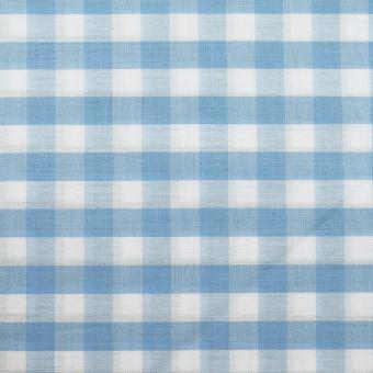 Popeline coton mercerise motif vichy 10 mm ciel