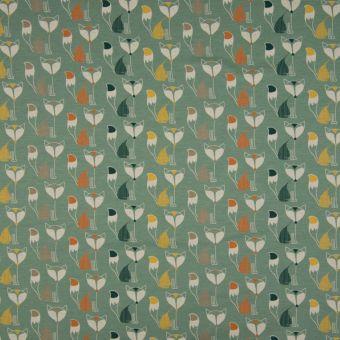 Tissu jersey de coton vert à motifs renards