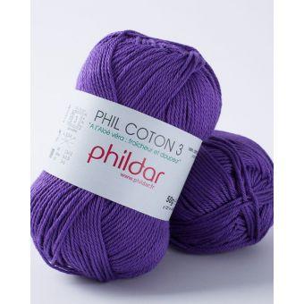 Pelote de coton à tricoter Phildar 3 violet