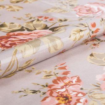 Tissu pour nappe enduite fleurs roses gris - AU Maison