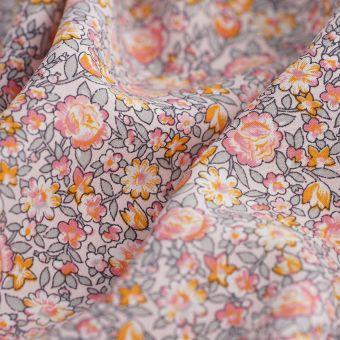 Tissu popeline Ecovero fleurs rose