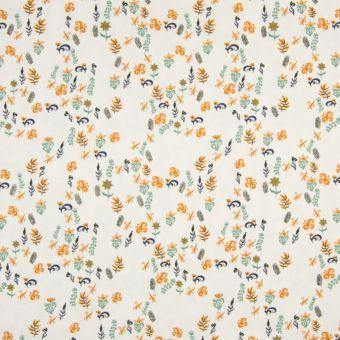 Tissu jersey à motifs mini feuilles écru