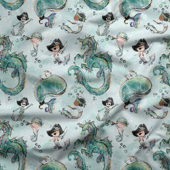 Tissu oxford pour chemise imperméable et recyclé pirates et dragons vert - Panda Love