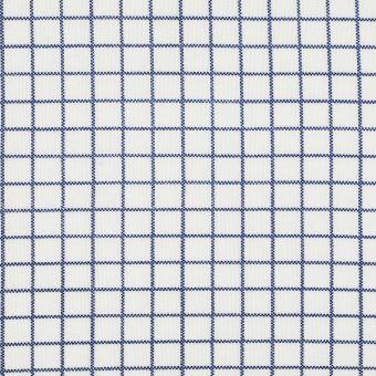 Tissu jersey carreaux bleu et écru