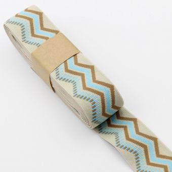 Ruban élastique imprimé zigzag ethnique 40mm turquoise écru