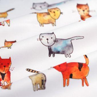 Tissu PUL pour les couches lavables chats multicolore - La Panda Love Fabrics