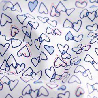 Tissu coton percale bio coeurs bleus