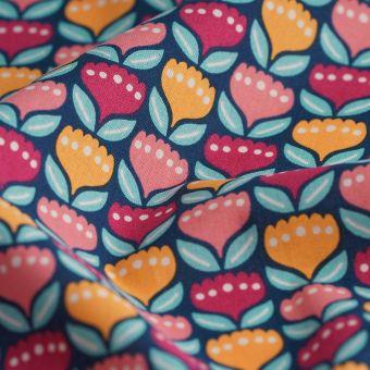 Tissu cretonne bio fleurs colorées