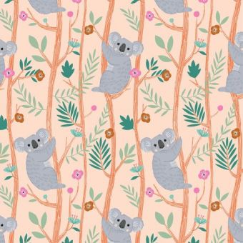 Tissus popeline de coton Dashwood motifs koalas rose