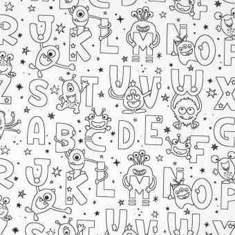 Tissu coton à colorier alphabet