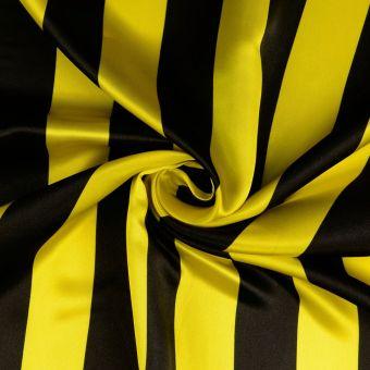 Tissu satin Carnaval rayures jaunes et noires