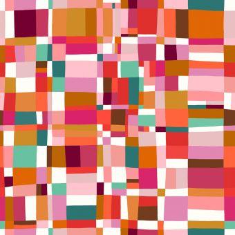 Tissu popeline de viscose Dashwood motifs carres rose