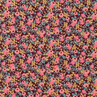 Tissu cretonne de coton épaisse bordeaux imprimé petites fleurs - Rifle Paper