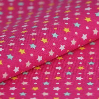 Tissu PUL rose imprimé étoiles