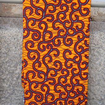Tissu wax motifs tiges moutarde
