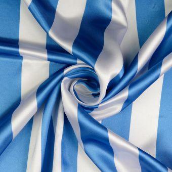 Tissu satin rayé blanc et bleu