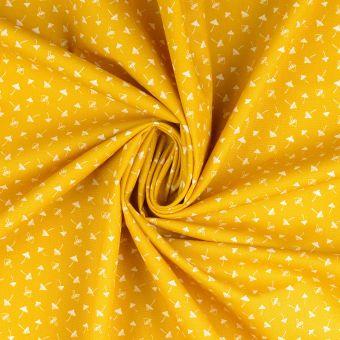 Tissu popeline de coton moutarde à motifs champignons