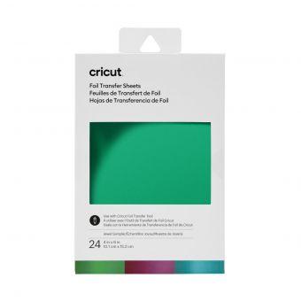 Cricut 24 feuilles transfert foil lot bleu - vert - violet - blanc 10,1 x 15,2 cm