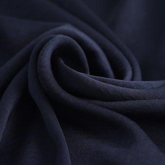 Tissu satin polyester recyclé uni bleu marine