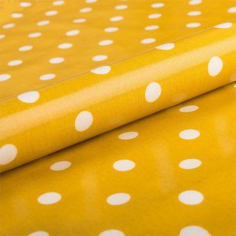 Tissu nappage enduit gros pois blanc moutarde - AU Maison