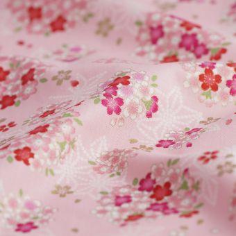 Tissu japonais rose fleurs de cerisier