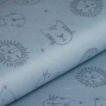 Tissu ottoman enduit pvc têtes d'animaux