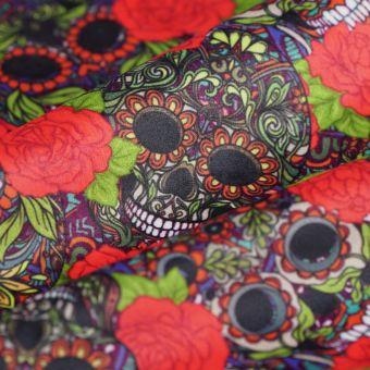 Tissu velours Día de los muertos