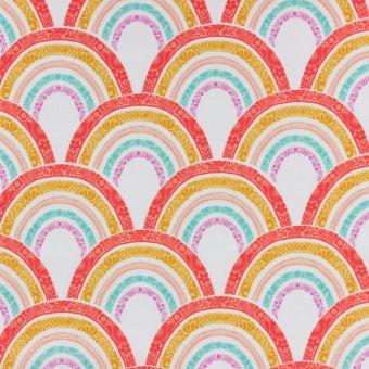 Tissu popeline de coton blanc imprimé écailles en arcs-en-ciel Dashwood Studio