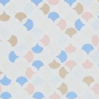 Tissu coton fin Frou-Frou écailles bleu azur Lisbonne