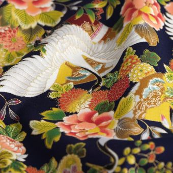 Tissu japonais grues marine