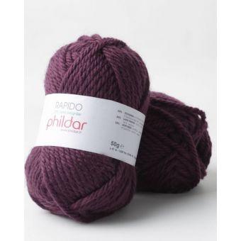 Pelote de fil à tricoter Phildar Rapido aubergine