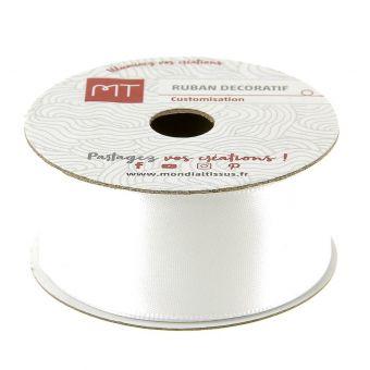Bobine ruban satin blanc 25 mm