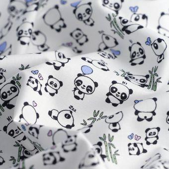 Tissu popeline coton bio pandas
