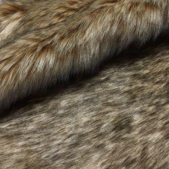 Tissu fausse fourrure renard taupe