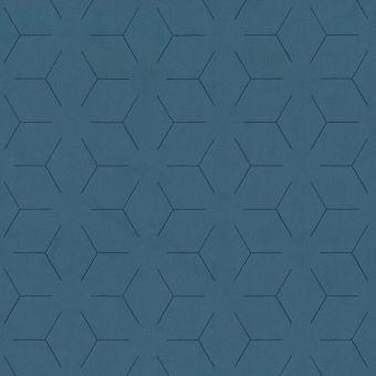 Tissu velours traits géométrique bleu