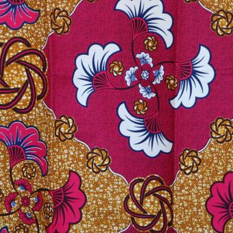 Tissu wax rose fleur de mariage - Karabashop