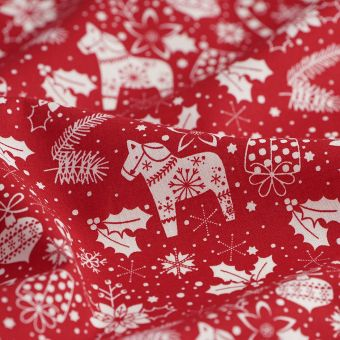 Tissu de Noël cretonne chevaux flocons