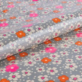 Tissu Petit Pan enduit brillant en coton gris à motifs fleurs des îles