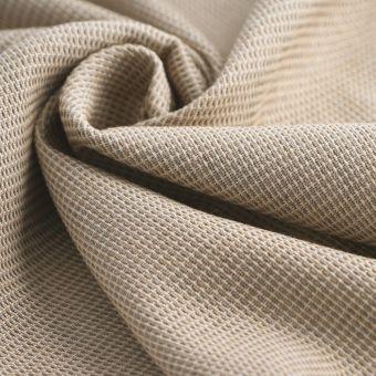 Tissu double natté lainage beige