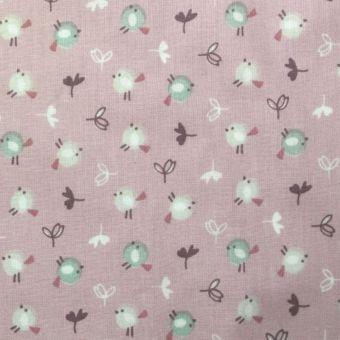 Tissu coton oiseaux rose